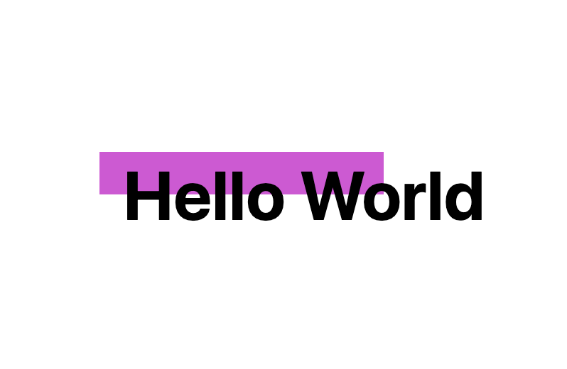 Preview of the generator demo Houdini worklet which draws a rectangle within the elements box at the requested coordinates, in this case a magenta rectangle over the top left behind the words 'Hello World'