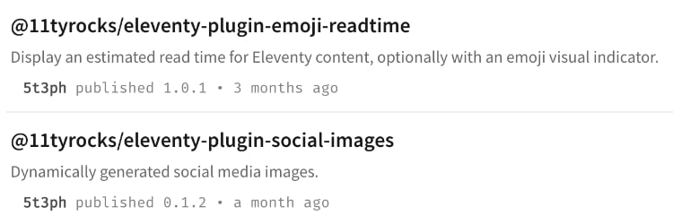 Preview of my two plugins: @11tyrocks/eleventy-plugin-emoji-readtime and @11tyrocks/eleventy-plugin-social-images