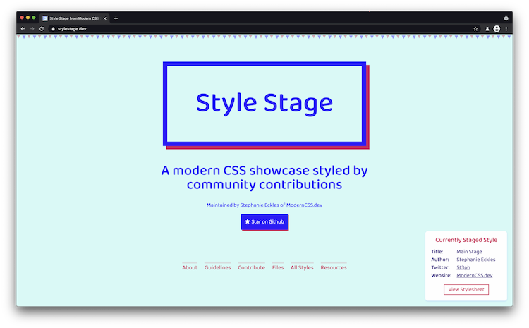 Preview of the StyleStage.dev home page